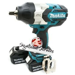 New Makita XWT08Z 18V LXT Li-Ion Brushless 12 in Impact Wrench 5.0 Ah Batteries $369.99