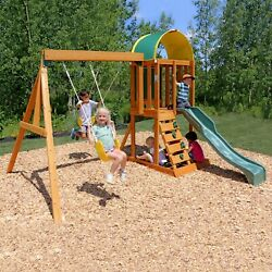 Playground Swing Set Backyard Wooden Frame Play Children Climbing Clubhouse Kids