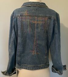 Hand Embroidered Up Cycled Denim Jean Jacket Route 66 Womens XL $70.00