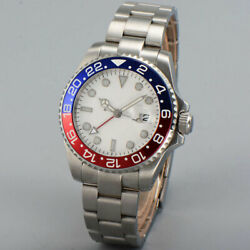 Bliger 40mm Automatic watch white dial sapphire glass GMT Luminous Mens Watches $78.00