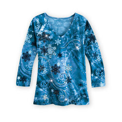 Snowflake Sequin Scroll V Neck Top with 3 4 Sleeves Casual Seasonal Top $14.99