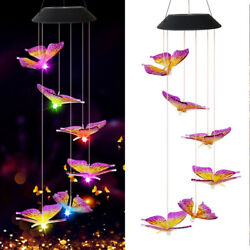 Solar Powered LED Butterfly Wind Chime Color-Changing Light Garden Decor Outdoor $14.99
