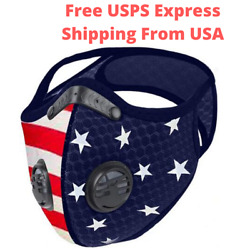 Red Blue Face Mask With Active Carbon Filter Breathing Valves Reusable Washable $17.99