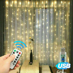300LED Curtain Fairy Lights USB Party Wedding String Light Home Remote Control $13.99