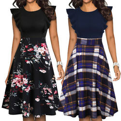 Women#x27;s Vintage Ruffle Floral Flared A Line Swing Casual Cocktail Party Dresses $16.99