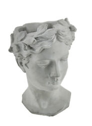 Zeckos Grey Classic Greek Lady IndoorOutdoor Cement Head Planter