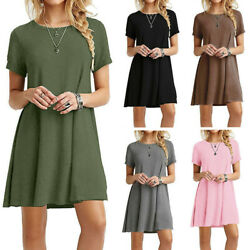 Womens Summer Short Sleeve T Shirt Dress Plus Size Beach Sundress A Line Dress $11.13