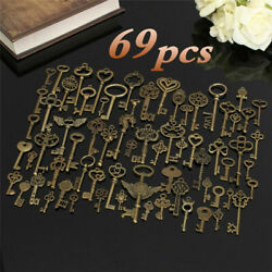 Set of 69 Antique Vtg old look Ornate Skeleton Keys Lot Pendant Fancy Heart Bow $13.99