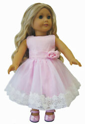 Pink Dress with Crochet Lace for 18quot; American Girl Doll Clothes $11.98