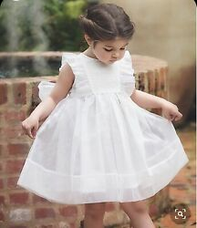 Trish Scully Child Girls White Ruffle Alice Dress Size 8 Spring Summer Beach $25.00