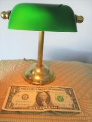 Adorable Small Tole Brass & Glass Banker's Desk Table Night Light Lamp $35.10