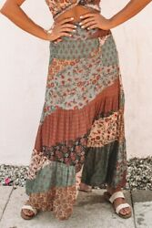 Multicolored Patchwork Floral Boho Ruffle Tiered Smocked Maxi Skirt MEDIUM 8-10 $24.20