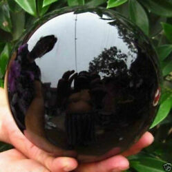 Hot Black Obsidian Sphere Crystal Ball Healing Stone 75 80MM With Stand $13.88