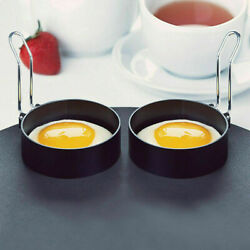 2PCS Non Stick Stainless Steel Egg Ring Frying Round FriedPoached Mould+Handle $7.99