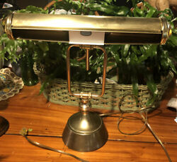 Vintage Brass Bankers Desk Lamp Piano Adjustable Weighted Base 1960s $55.00