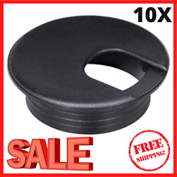 NEW 2 Inch Black Plastic Desk Grommet Cover For Cable Hole 10 PACK FREE SHIPPING $11.69