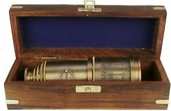BRASS ANTIQUE VINTAGE 20quot;VICTORIAN MARINE TELESCOPE WITH WOODEN BOX SPYGLASS $41.00
