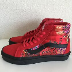 Vans Sk8 Hi Chinese New Year CNY Reissue Festival Satin Red Floral Sz 6 7.5 NEW $100.00