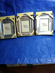SET of 3 NEW Weston Galleries Mini Frames for 2x3quot; Photo Brushed Silver Tone $14.99
