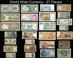 World Wide Currency 27 Banknotes over 20 Countries Circulated $7.00