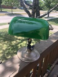 Vintage Bankers Desk Lamp Brass Green Glass Shade Pull Chain Piano $60.00