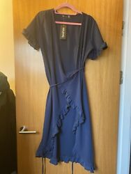 Navy Blue Wrap Over Summer Dress Boohoo Size 12  $15.01