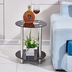 2 Tier Round Coffee Table Glass Top Sofa Side End Table Home Decor Furniture New $43.99