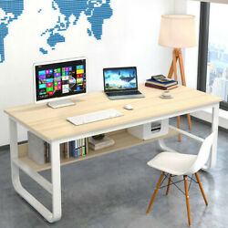 Computer Table Modern Desk Home Office Study Workstation Writing With Shelf US $82.99