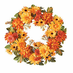 Multicolored Mixed Fall Mum Flowers Front Door Wreath $14.99
