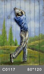 Golfer 3 D Oil Painting Wall Decor Metal And Wood Canvas Home Office Decoration $186.75