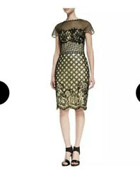 Tadashi Shoji  Dress 2 Black Yellow Lemon Lace Cap Sleeve NEW Cocktail