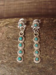 Native American Sterling Silver Turquoise Dangle Earrings! Zuni Indian $24.99