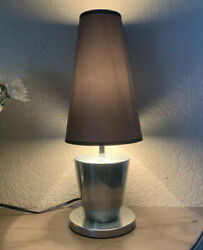 Sleek Modern Designer Table Bedside Small Lamp Black Shade Aluminum Steel Metal $27.00