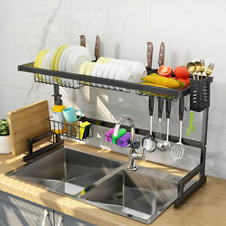2 Tier Stainless Steel Dish Drying Rack Over Sink Kitchen Cutlery Drainer Holder $51.99