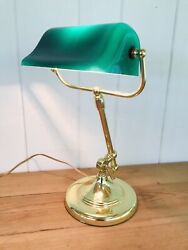 Antique Vintage Brass Bankers Lamp Emeralite Glass Shade~Adjustable Arm $159.50