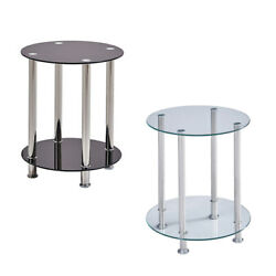 Modern 2 Tier Round Coffee Table Glass Top Sofa Side End Table Home Decor New $43.99
