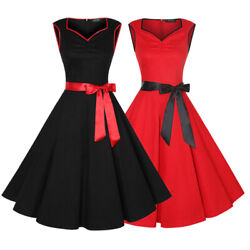Women Sleeveless Belted Vintage 50s Party Cocktail Rockabilly Pinup Summer Dress $16.99