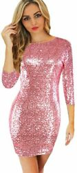 BOMBAX Women Sparky Sequin Cocktail Midi Party Dress Long Sleeve Bodycon Evening $36.75
