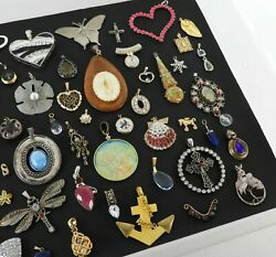 50 Lot Vintage Now Used Jewelry Costume Pendants Rhinestones Silver Gold Tone #4 $69.74