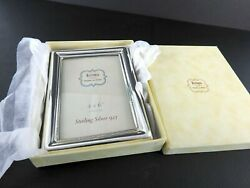New Eccolo Made In Italy Sterling Silver 4x6 Picture Frame Photo Standing Wood $69.74