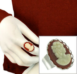 Cameo Cocktail Red Statement Ring Silver Tone Large 1970s Vintage 1 x 3 4quot; $10.14
