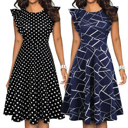 Women#x27;s Elegant Ruffle Floral Party Cocktail Formal Swing Summer Casual Dresses $14.99