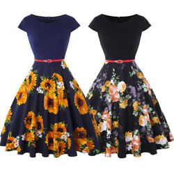 Women Floral Belted Short Sleeve Summer Casual Party Cocktail Swing A line Dress $14.99