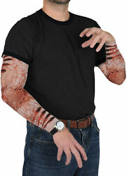 ADULT ZOMBIE BITE PARTY SLEEVES SCRATCHES VEIN POPPING GORY COSTUME BG00547 $4.99