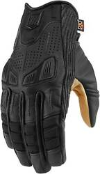 Icon 1000 Axys Gloves Motorcycle Street Bike Riding Leather Mens $85.00