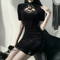 Lady Gothic Dress Dark Black Velvet Lace Short Sleeve Slim Bodycon Punk Sexy New