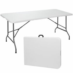 6#x27; Portable Folding Table Plastic Indoor Outdoor Picnic Party Camp Dining White $57.99