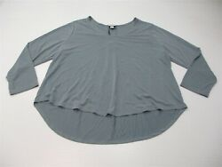 new AVA & VIV Womens Size 2X Soft Knit 34 Sleeve Dusty Blue Scoop Neck Top $7.20
