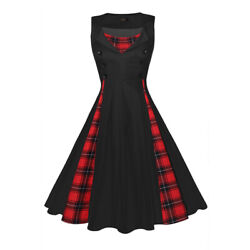 Women Vintage Sleeveless 50s Plaid Rockabilly Pinup Party Cocktail Evening Dress $15.99
