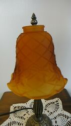 NOS Amber Etched Glass Lattice amp; Ivy Design Lamp Shades with 2 1 4quot; fitter $10.00